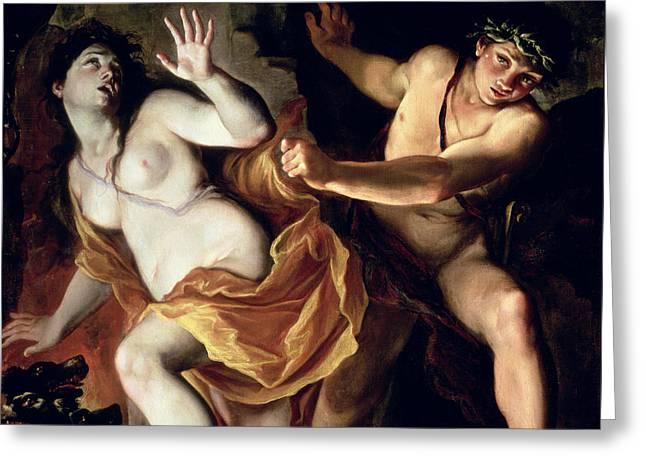Orpheus And Eurydice Greeting Card by Giovanni Antonio Burrini or Burino