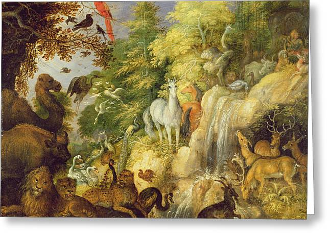 Orpheus With Birds And Beasts, 1622 Greeting Card