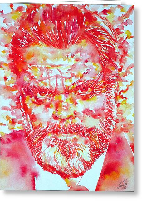 Orson Welles Watercolor Portrait Greeting Card by Fabrizio Cassetta