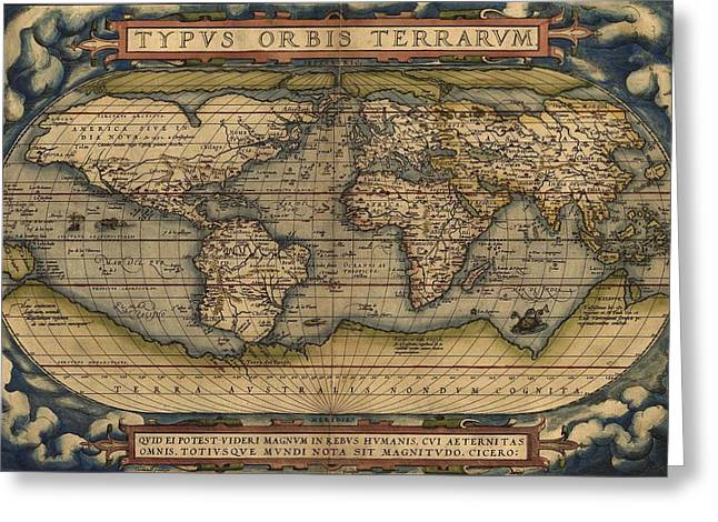 Ortelius Old World Map Greeting Card by Joseph Hawkins