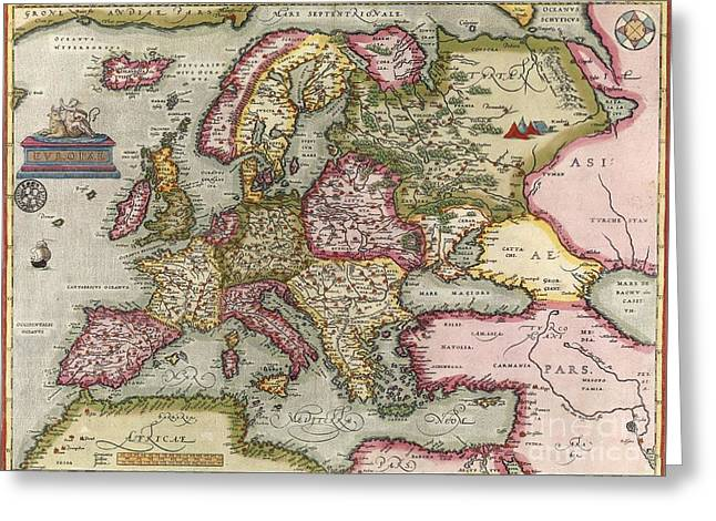Ortelius's Map Of Europe, 1603 Greeting Card by Middle Temple Library