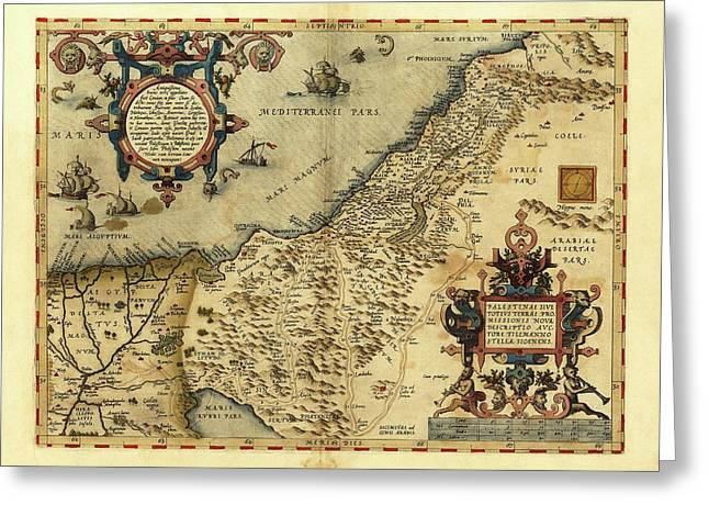 Ortelius's Map Of Palestine Greeting Card