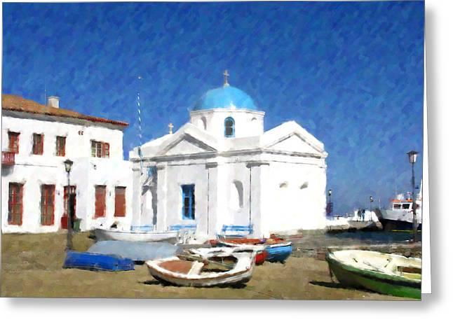 Orthodox Church Mykonos Island Greece Greeting Card by Dan Chavez