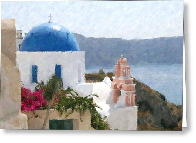 Orthodox Church Santorini Island Greece Greeting Card by Dan Chavez