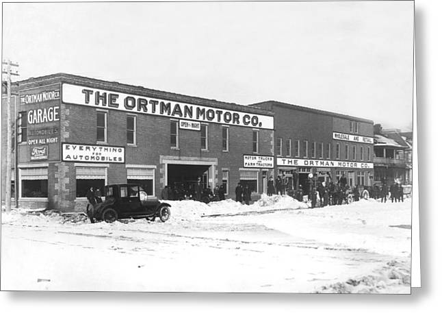 Ortman Motor Company Greeting Card by Underwood Archives