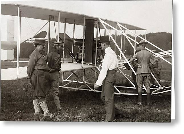 Orville Wright And Aeroplane  1908 Greeting Card by Daniel Hagerman