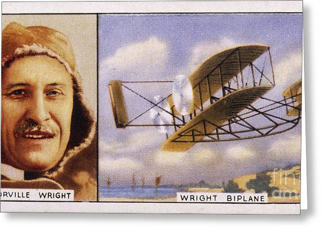 Orville Wright And Biplane Greeting Card