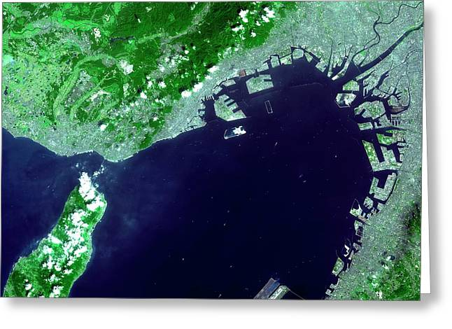 Osaka Bay Greeting Card by Nasa/gsfc/meti/japan Space Systems And U.s./japan Aster Science Team