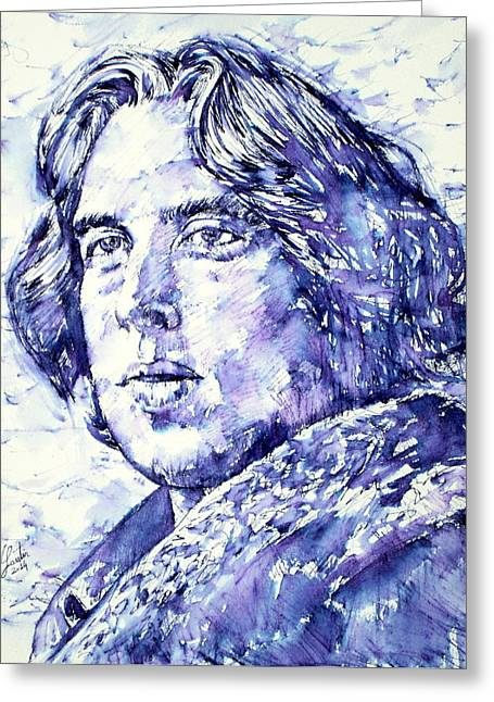 Oscar Wilde Portrait Greeting Card by Fabrizio Cassetta
