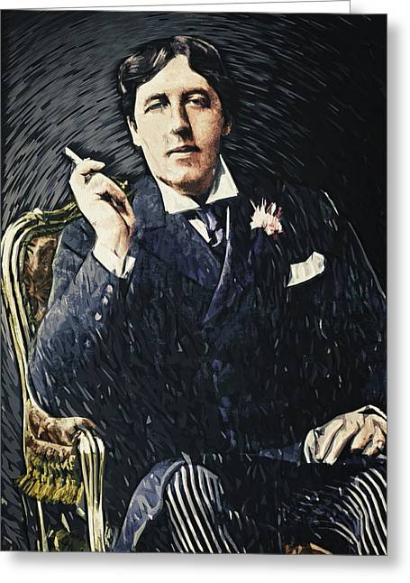 Oscar Wilde Greeting Card by Taylan Apukovska