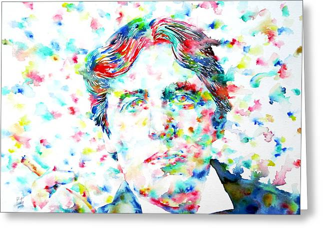 Oscar Wilde With Cigar - Watercolor Portrait Greeting Card by Fabrizio Cassetta