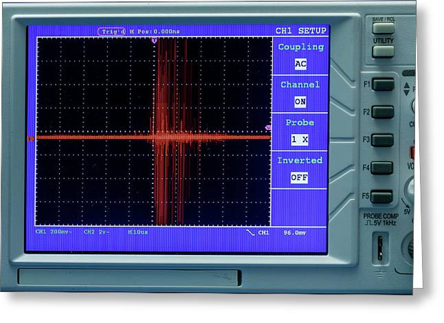 Oscilloscope Display Panel Greeting Card by Wladimir Bulgar