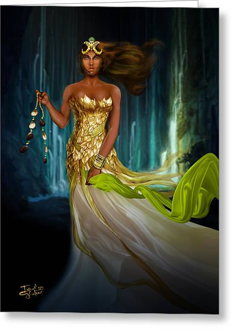 Oshun Behind The Falls Greeting Card