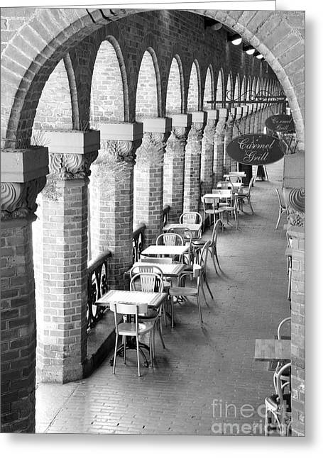 Oslo Cafe - Black And White Greeting Card by Carol Groenen