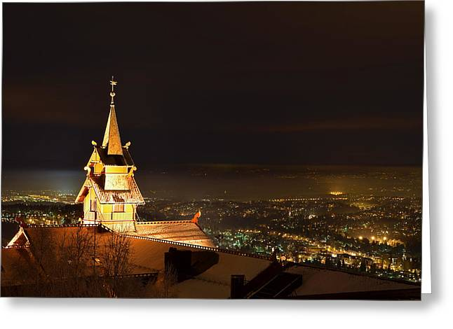 Oslo Evening Greeting Card by Aaron Bedell