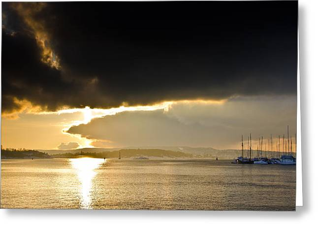 Oslo Harbor Sunset Greeting Card by Aaron Bedell