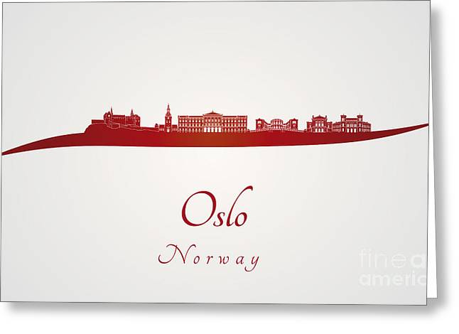 Oslo Skyline In Red Greeting Card by Pablo Romero