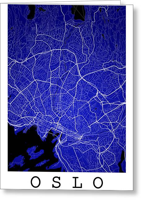 Oslo Street Map - Oslo Norway Road Map Art On Color Greeting Card by Jurq Studio