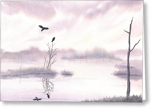 Ospreys At Dawn Greeting Card by Anna Bronwyn Foley