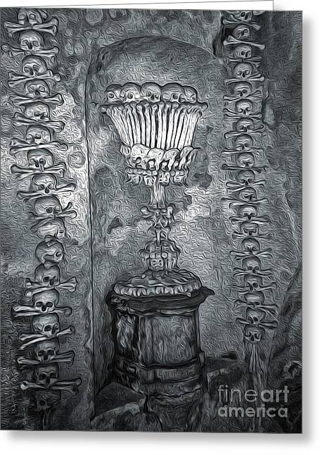 Ossuary Sedlec - Chalace Greeting Card by Gregory Dyer