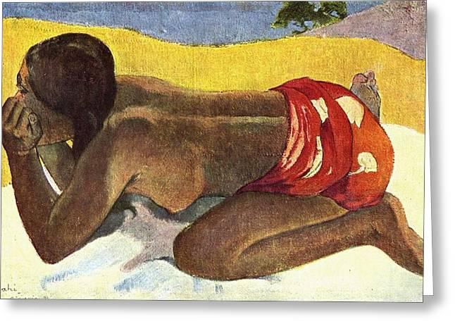 Otahi Greeting Card by Paul Gauguin