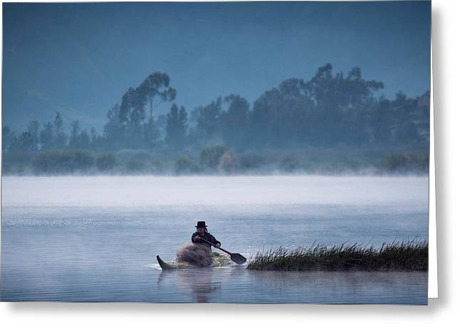 Otavalo Indian Fisherman Using Greeting Card by Pete Oxford