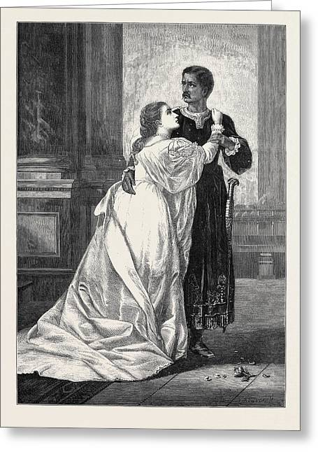 Othello And Desdemona Greeting Card by Herrick, William Salter (c.1807-1891), British