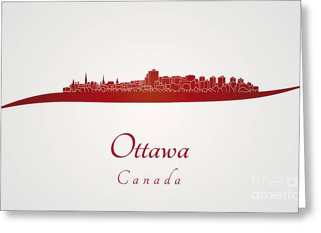 Ottawa Skyline In Red Greeting Card