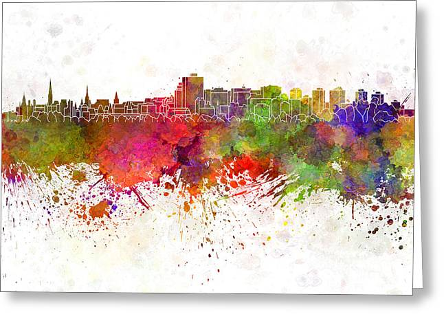 Ottawa Skyline In Watercolor Background Greeting Card