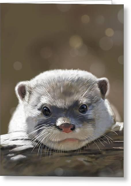 Otter Greeting Card by Arie Van der Wijst