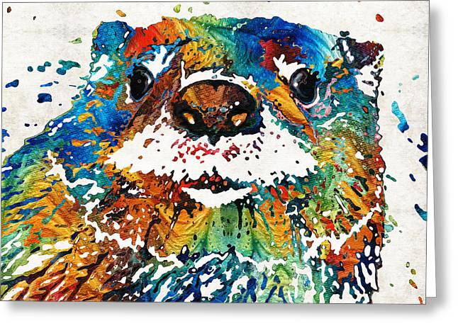 Otter Art - Ottertude - By Sharon Cummings Greeting Card