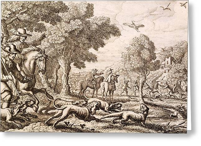 Otter Hunting By A River, Engraved Greeting Card by Francis Barlow