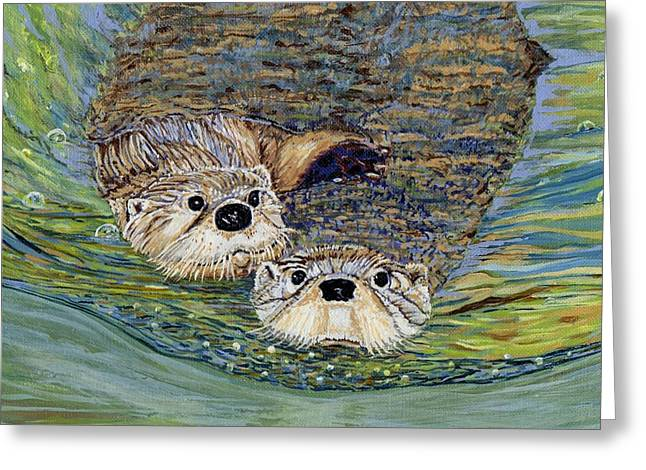 Otter Pals Greeting Card by Sandra Wilson