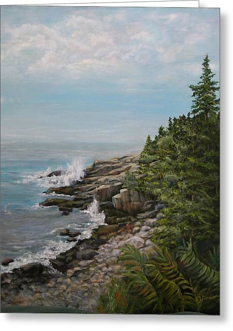 Greeting Card featuring the painting Otter Point - New England by Sandra Nardone