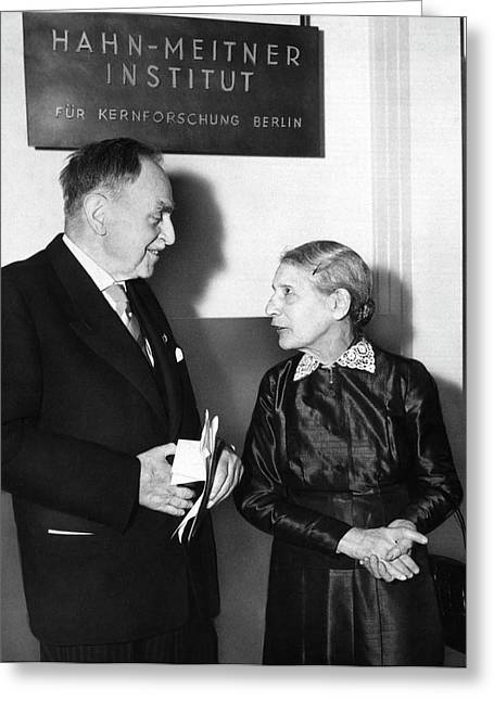 Otto Hahn And Lise Meitner Greeting Card by Emilio Segre Visual Archives/american Institute Of Physics