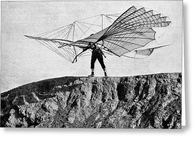 Otto Lilienthal And Glider Greeting Card
