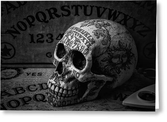 Ouija Boards And Skull Greeting Card by Garry Gay