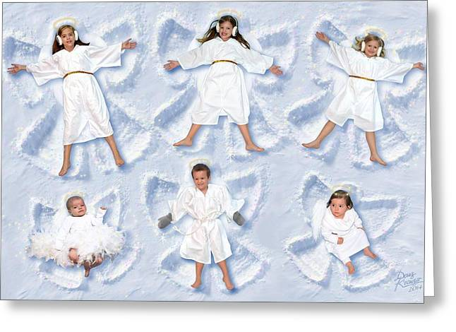 Greeting Card featuring the photograph Our Christmas Snow Angels by Doug Kreuger