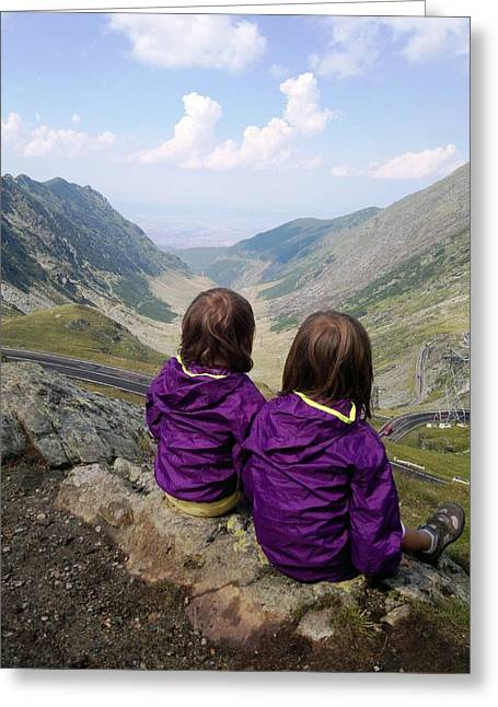 Our Daughters Admiring The View Greeting Card