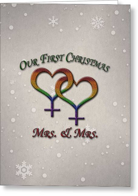 Our First Christmas Lesbian Pride Greeting Card