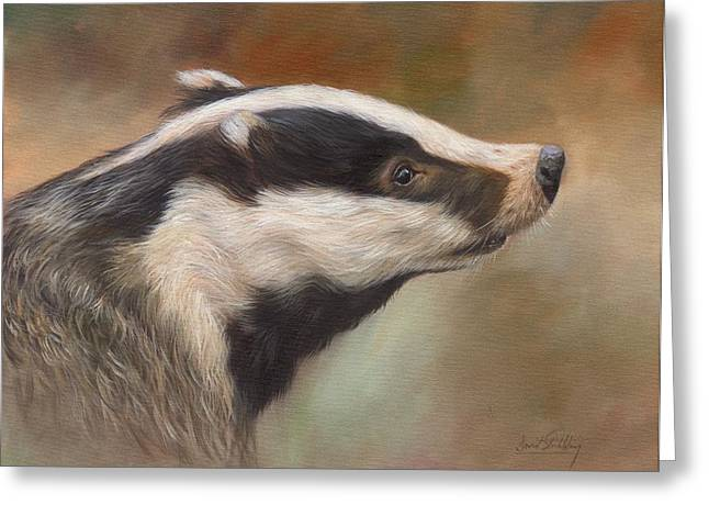 Our Friend The Badger Greeting Card by David Stribbling