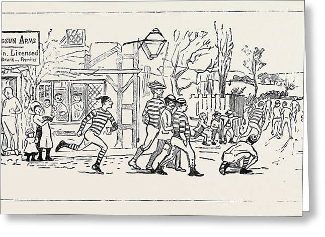 Our Great Football Match, Pelicans Versus Phantoms Greeting Card by English School