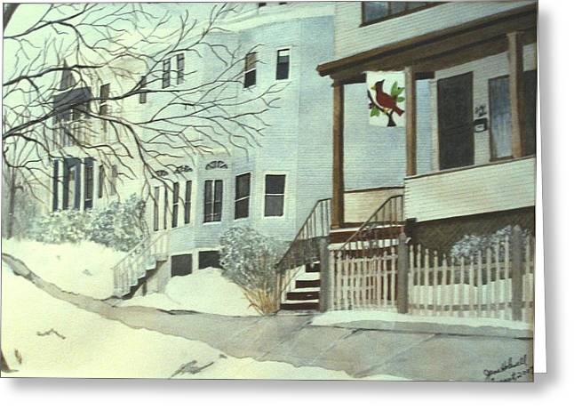 Our House In Medford Greeting Card by June Holwell