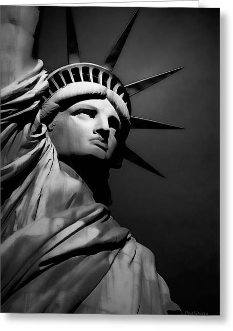 Our Lady Liberty In B/w Greeting Card by Dyle   Warren