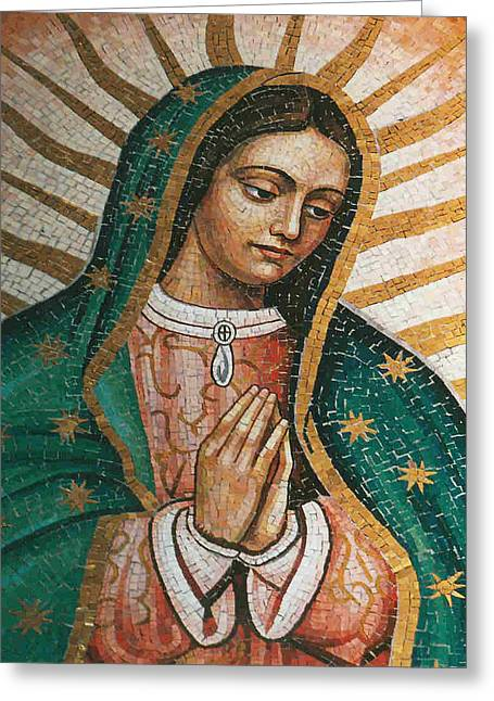 Greeting Card featuring the painting Our Lady Of Guadalope by Pam Neilands