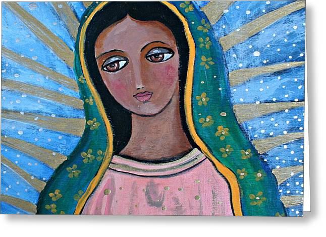 Our Lady Of Guadalupe Folk Art Greeting Card by Alma Yamazaki