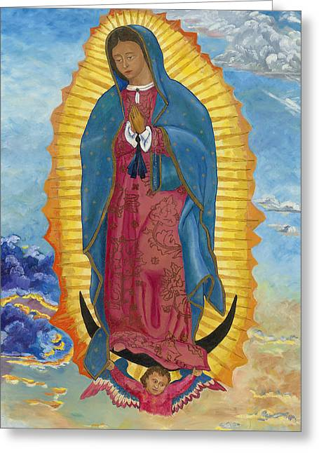 Greeting Card featuring the painting Our Lady Of Guadalupe-new Dawn by Mark Robbins