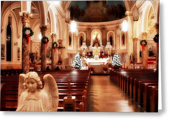Greeting Card featuring the photograph Our Lady Of Mount Carmel Church At Christmas by Aurelio Zucco
