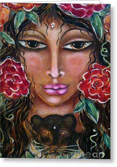 Our Lady Of The Lion Heart Greeting Card by Maya Telford