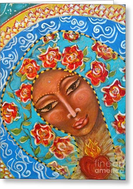 Our Lady Of The Roses Greeting Card by Maya Telford